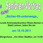 """Senioren-Vortrag: """"sicher fit unterwegs"""" 18. Oktober"""