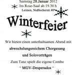 Winterfeier MGV am 28. Januar