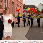 Herzliche Glückwünsche zur Vermählung an Josef und Christina Schmidt