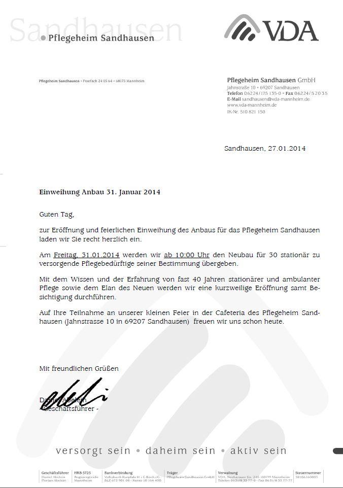 31. januar: pflegeheim sandhausen eröffnet erweiterungsbau, Einladungen