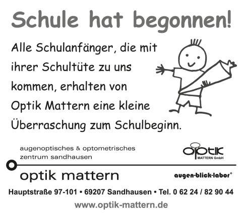Mattern Optik - Banner Schulanfänger