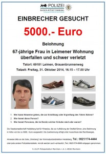 4708 - Phantombild Leimen Graubrunnenweg-Überfall Plakat gross