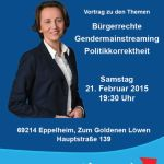 21. Februar: MdEP Beatrix von Storch (AfD) zu Gender Mainstreaming