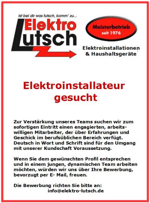 6581 - Elektro Lutsch Stellenangebot 480