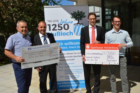 Nußlocher Gemeindejubiläum: Großzügige Spenden von Sparkasse und Volksbank