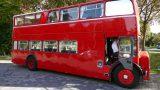 Original Bristol Lodekka Doppeldecker-Bus von Fody's auf Jungfernfahrt nach Leimen