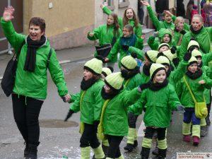 Die kleinsten Zugteilnehmer kamen aus Leimen: Die Minigarde des KC Frösche
