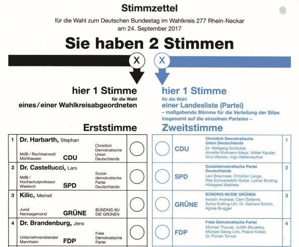 wahlzettel landtagswahl thüringen 2019