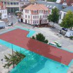 Rathausplatz – Bebauungskonzepte visualisiert – CMS-Konzept (blau) oder Ärztehaus