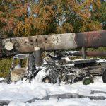 Nußloch B3: Kranfahrzeug brannte - Fahrer unverletzt - Sachschaden ca.800.000 Euro