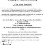 """Einladung zur Bürgerveranstaltung am Freitag:  """"Zeit zum Handeln"""""""
