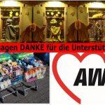 AWO-Basteldamen überreichten 2 Einkaufswagen mit Lebensmitteln als Spende