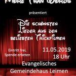MoreThanWords-Konzert am Samstag im ev. Gemeindehaus Leimen