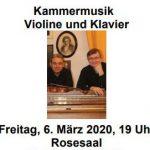 Einladung zum Kammermusikabend für Violine und Klavier am 6. März