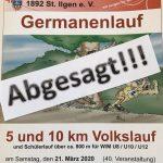 Absage: Germanenlauf / Volkslauf über 5 und 10 km am  21. März