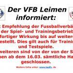 VFB Leimen stellt Spiel- und Trainingsbetrieb ein