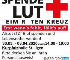 Ab Montag: Regionales Blutspendezentrum in der Kurpfalzhalle St. Ilgen – Bitte Termin reservieren!