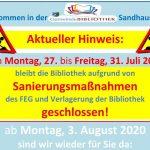 """Gemeindebibliothek Sandhausen: Schließung und """"Notausleihe"""" in den Ferien"""