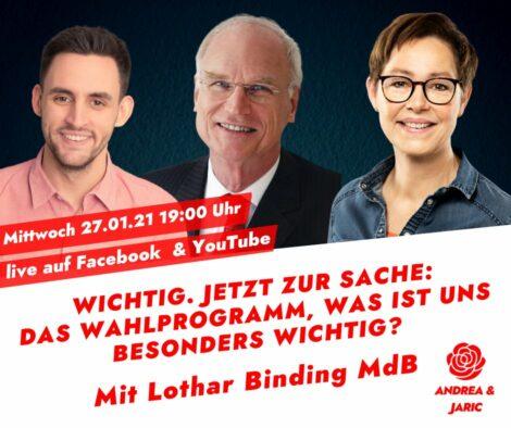 """""""Zur Sache jetzt"""" mit Andrea Schröder-Ritzrau und MdB Lothar Binding"""